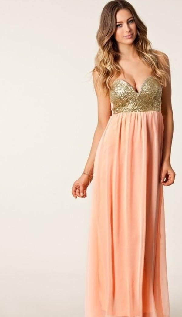 dress long dress pink dress sequin dress
