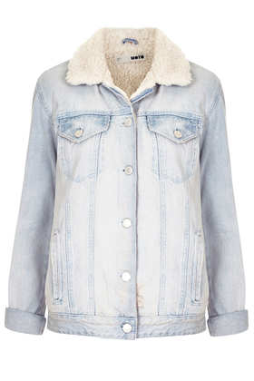 MOTO Bleach Borg Denim Jacket - Jackets & Coats - Clothing - Topshop