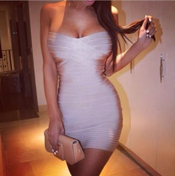 dress bandage bodycon bandeau short champagne beige silk sexy