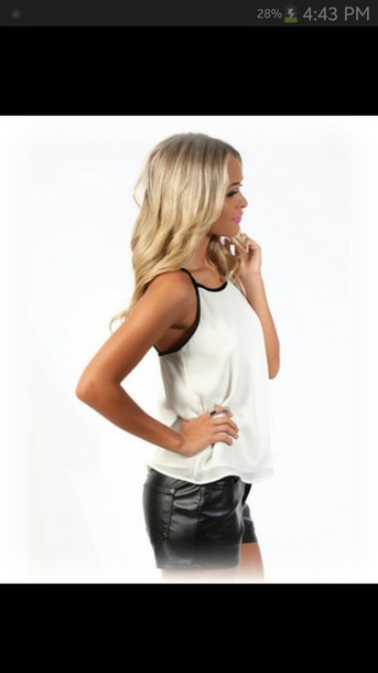 shirt black and white top singlet