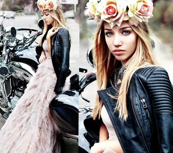 dress leather jacket jacket self made flower crown flower crown aksinya air ukraine naf naf