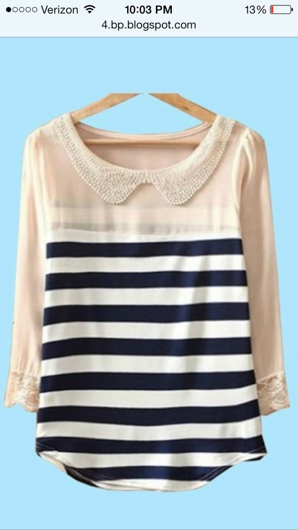 blouse new girl stripes shirt peter pan collar navy cream