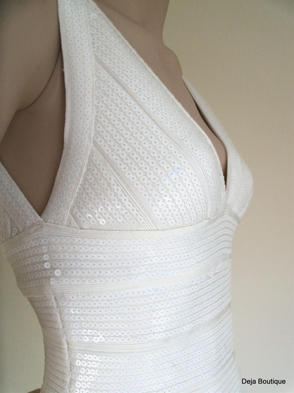 Deja Boutique. Marbella white sequin bandage dress
