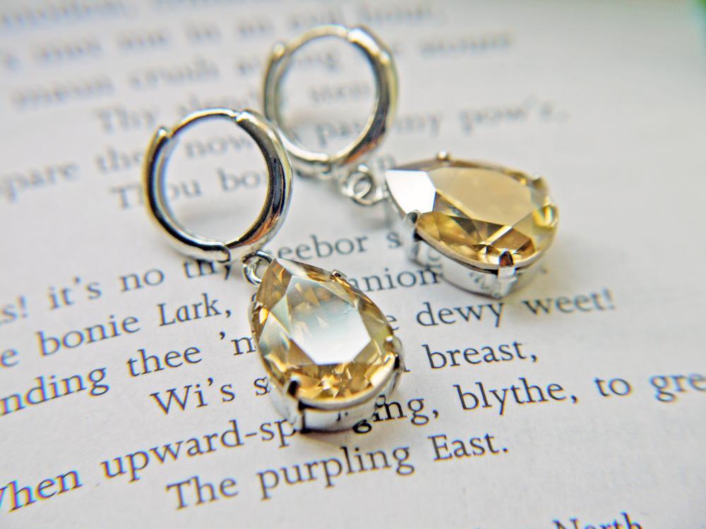 Wedding Jewelry Swarovski Crystal Golden Shadow Earrings.Timeless Classic Teardrop Earrings on Luulla