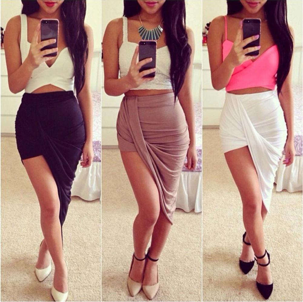 USA Made Sexy Wrap Banded Waist Draped Cut Out Asymmetrical Hi Low Skirt s M L | eBay