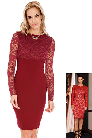 Long Sleeve Lace and Bengaline Dress in the style of Kim Kardashian