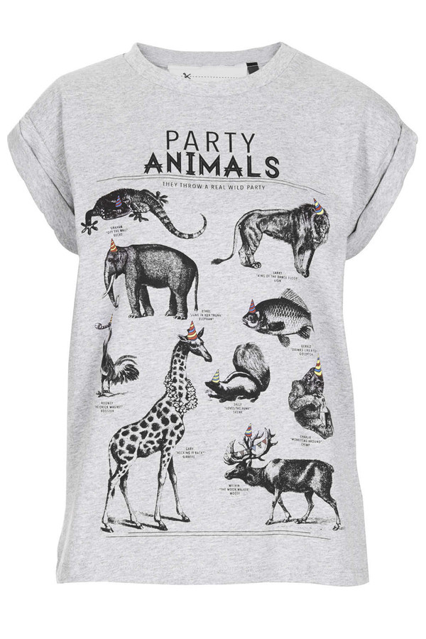 t-shirt shirt party animal funny shirt drunk clothes tank top topshop animals party animal funny t-shirt grey