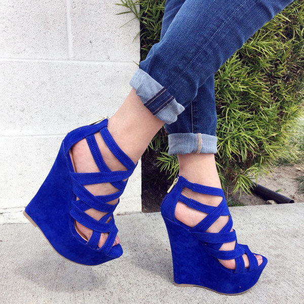 Royal Blue Faux Suede Strappy Open Toe Platform Wedges @ Cicihot