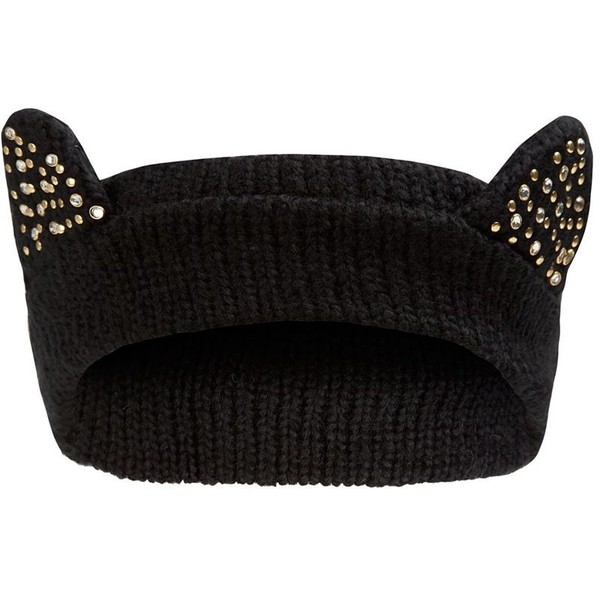 Black Studded Cat Ear Head Band - Polyvore