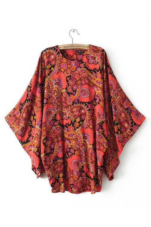 Ethnic Style Bat Sleeve Loose Dress [SHWM00108] - PersunMall.com