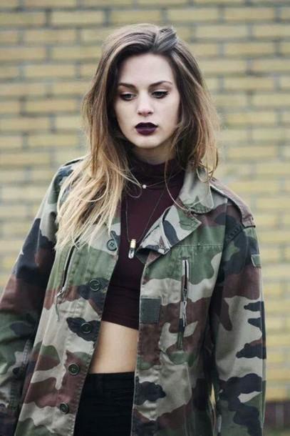 jacket coat tumblr camo jacket cool black cute military style army green army green jacket lipstick