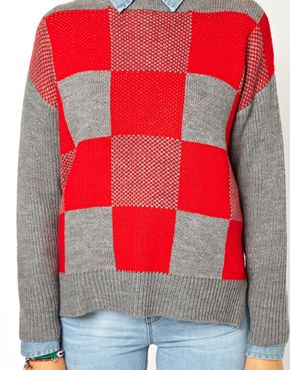 ASOS Petite | ASOS PETITE Exclusive Check Sweater with Rib Sleeves at ASOS