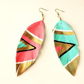 jewels earrings plume aztec