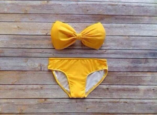 swimwear yellow bow bandeau