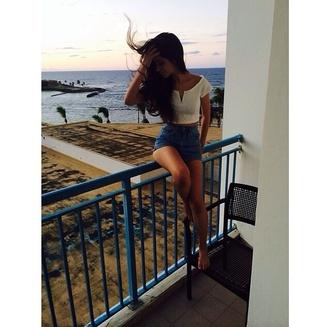 shirt white crop tops summer shorts denim blue shorts blue white crop tops short sleeved long hair beach camila cabello