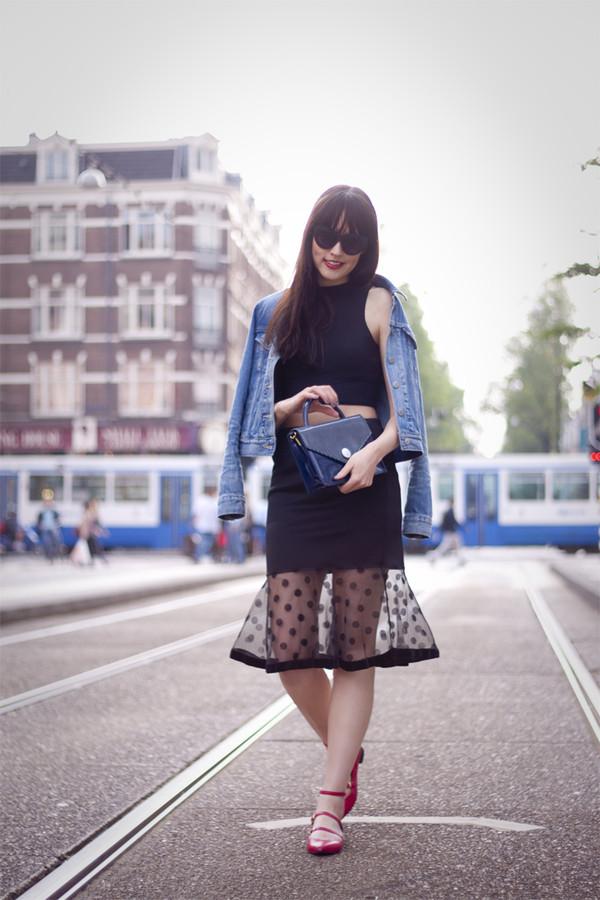 a dash of fash skirt sunglasses bag jacket
