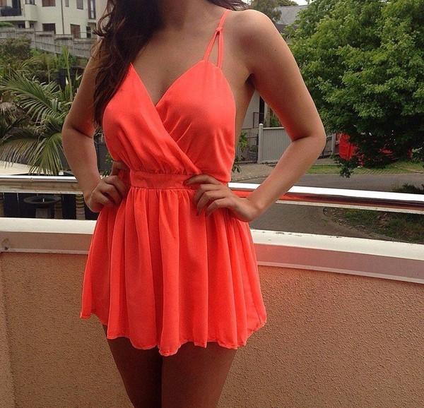 dress romper jumpsuit summer playsuit summer dress fluoro neon orange dress orange chiffon blue dress yellow