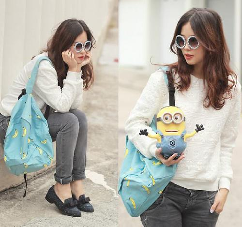 Preppy Style Banana Print Contrast Color Canvas Backpack - Bags - Accessories