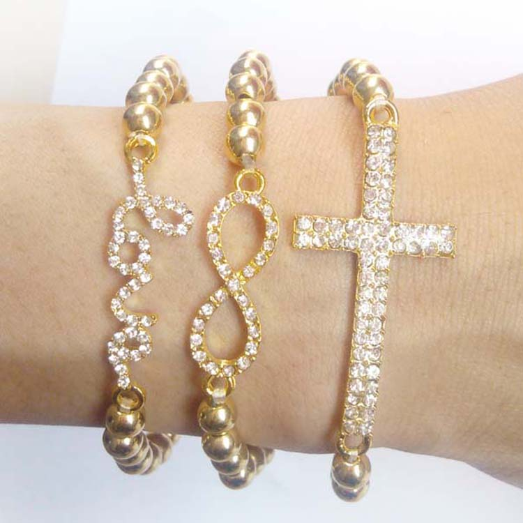 Fashion Set of 3 Pearl Rhinestone Love, Cross, & Infinity Stretch Bracelet Gold | eBay