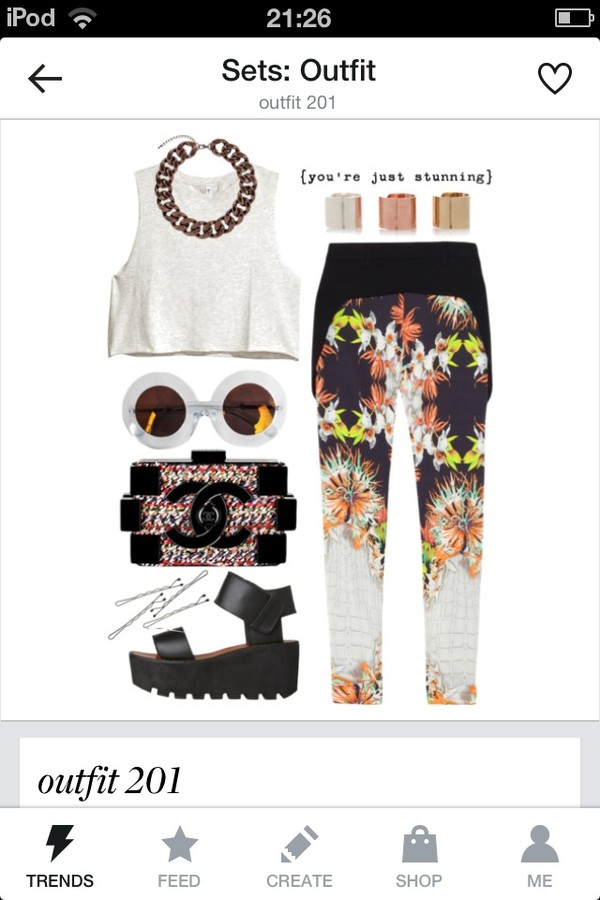 jewels tank top sunglasses bag shoes pants