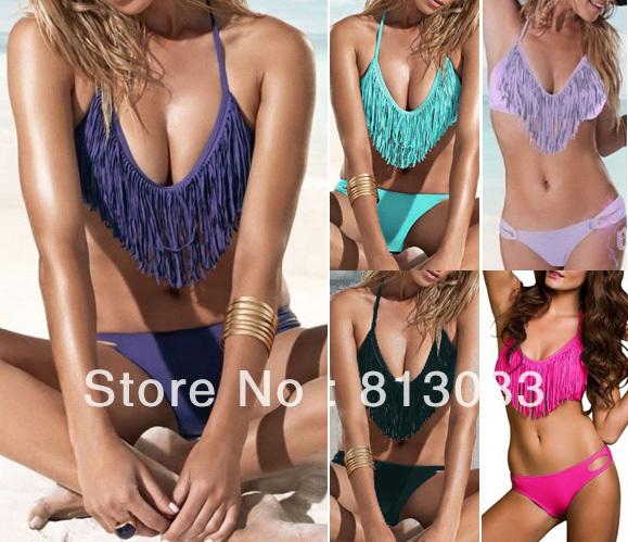 2013 Summer Padded Boho V Neck Fringe Tassel Bikini Swimsuit Women Swim Wear Sexy Bathing Suit Swimwear 6 Colors SML #P049-in Bikinis Set from Apparel & Accessories on Aliexpress.com