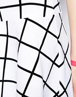 Monki   Monki Grid Print Sweat Skirt at ASOS