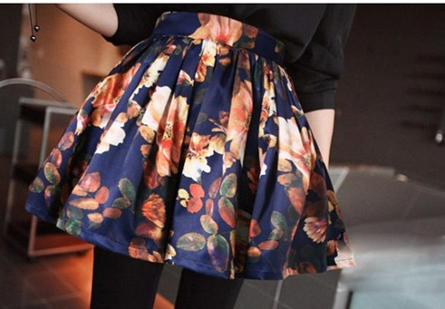 Spring New Arrival High Quality Sweety Cute Flower Printed High Waist A Patterned Skirt As the Picture Free Shipping-in Skirts from Apparel & Accessories on Aliexpress.com
