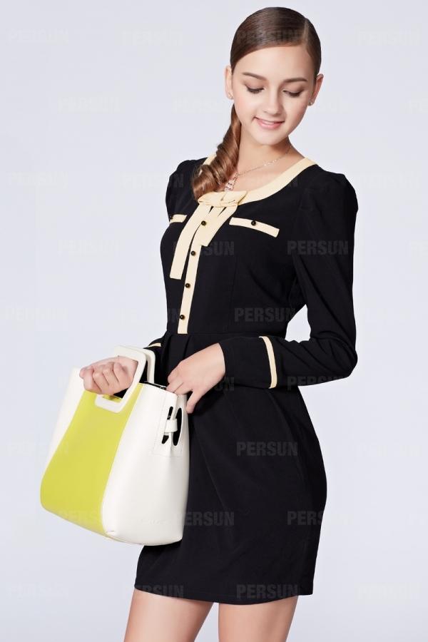 OSA Slim Dress with Color Block Bowknot [FOSA0002] - PersunMall.com
