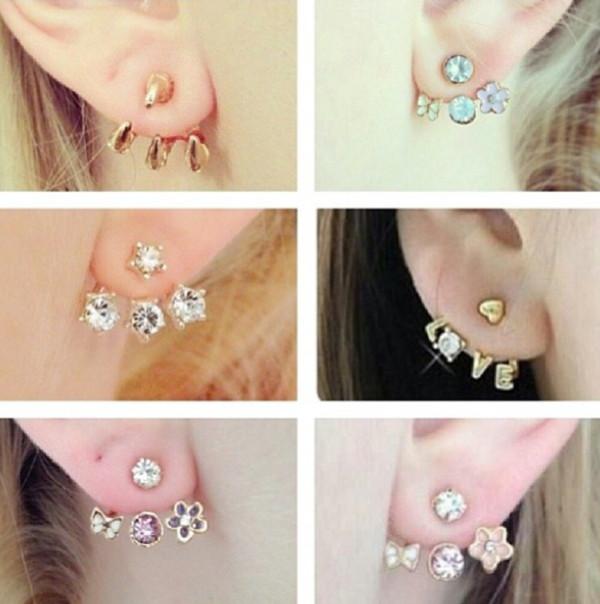 jewels gold multicolor silver triple earings jewelry earrings ear jackets