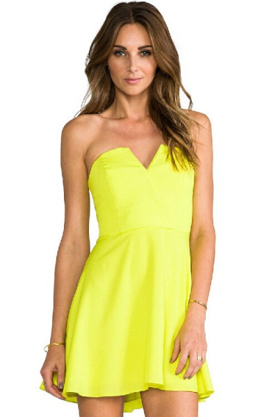 KCLOTH Sweet Heart Party Dress in Ruffle Detailed (NEON GREEN / PEACH)