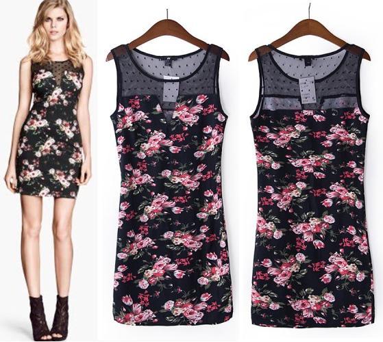 WST 5638 V Dress (BLACK FLOWER size S, M, L) - ButikSisOnline - Supplier Baju Import Online - Grosir dan Eceran