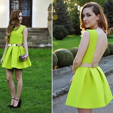 Free shipping 2014 new fashion brand neon green dress skating dress backless N906-in Dresses from Apparel & Accessories on Aliexpress.com