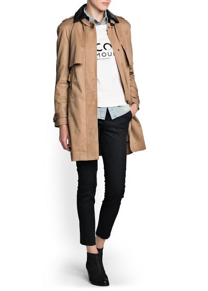 MANGO - CLOTHING - Leather appliqués trench
