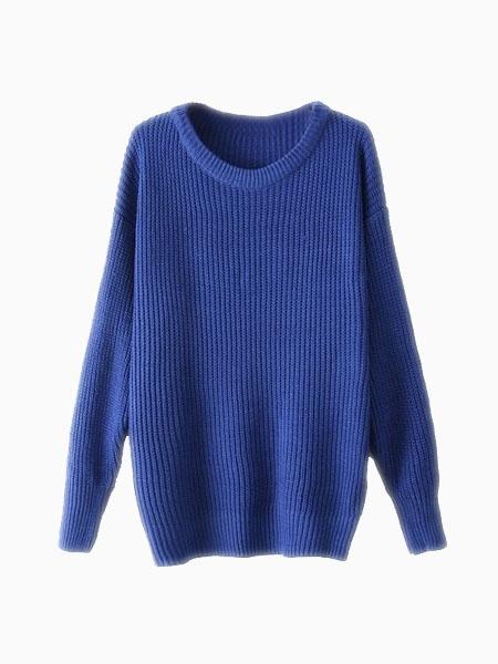 Blue Basic Sweater   Choies