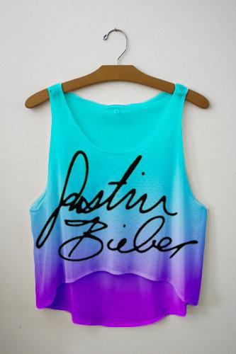 Bieber Signature Tie Dye Crop Top   fresh-tops.com on Wanelo