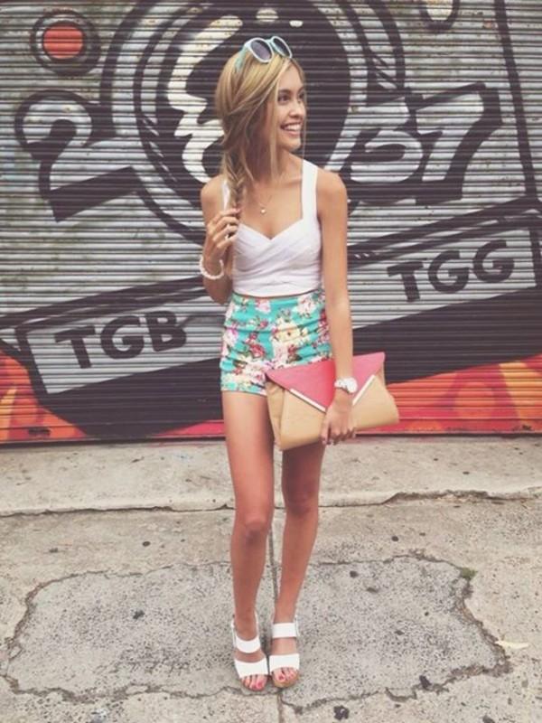 shorts mint floral High waisted shorts seafoam seafoam green flowers floral shirt bag