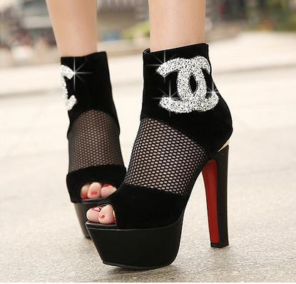 Channel Red Bottom Bootie Heels - Monis Bows N More