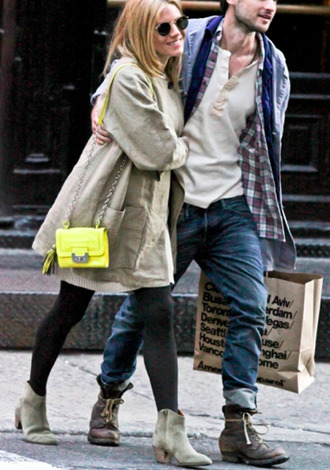 bag fluo clutch side bag chain small bag yellow bright sienna miller