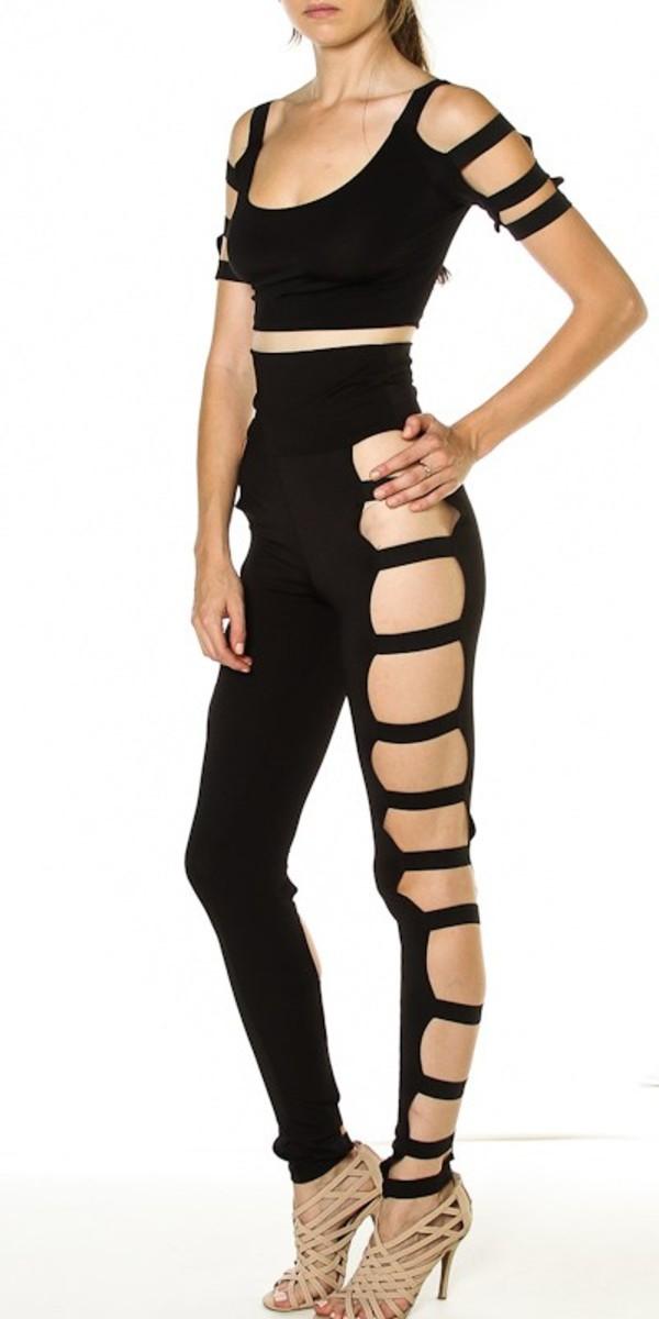 pants jumpsuit bodysuit cut out bodysuit