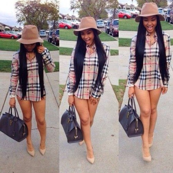 shirt shoes blouse buttondown burberry oversized hat pointed toe heels leather bag