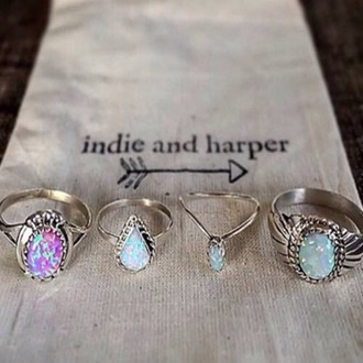 jewels opal ring jewelry jewelery pink blue purple green holographic precious gem gemstone stone crystal rock nature boho bohemian gemstone ring