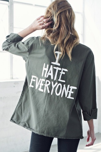 jacket green fashion style long sleeves quote on it cool free vibrationz