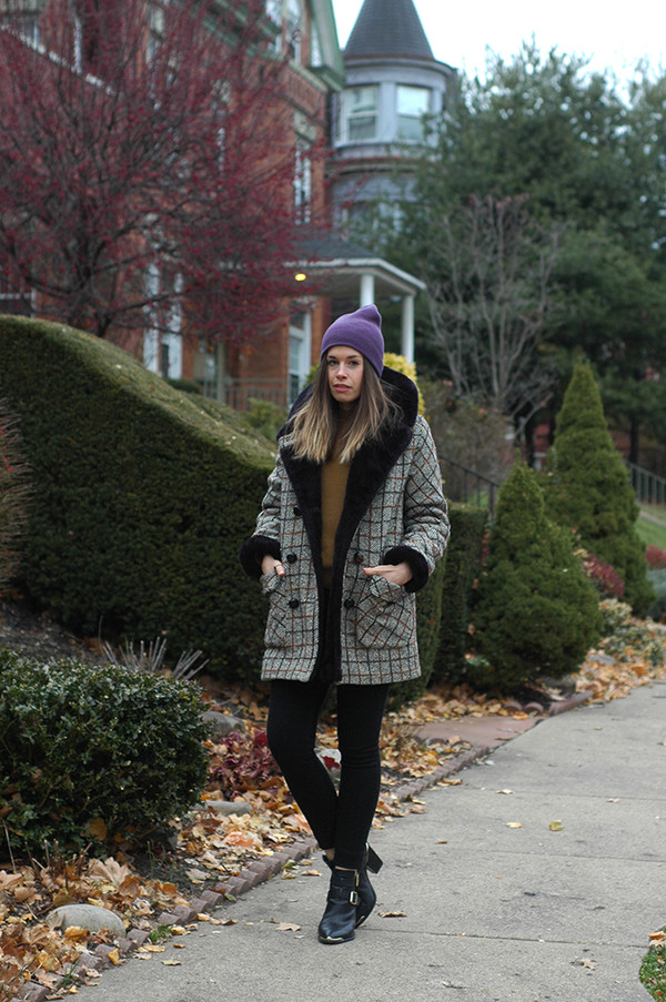 orchid grey coat sweater jeans hat shoes jewels