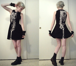 Hot Topic Half Skeleton Dress, Dr. Martens Faux Doc, H&M Lacy Black Gloves - Skeletal  - Katie Ann | LOOKBOOK