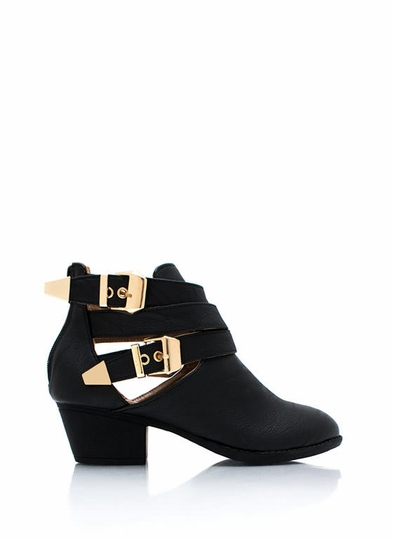 Straparound-Cut-Out-Buckle-Boots BLACK - GoJane.com