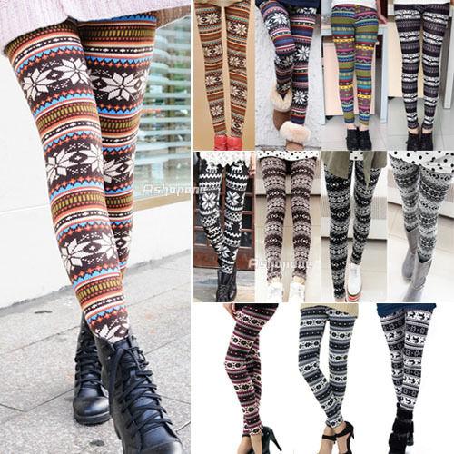 New Women's Nordic Deer Snowflake Knitted Leggings Tights Pants | eBay