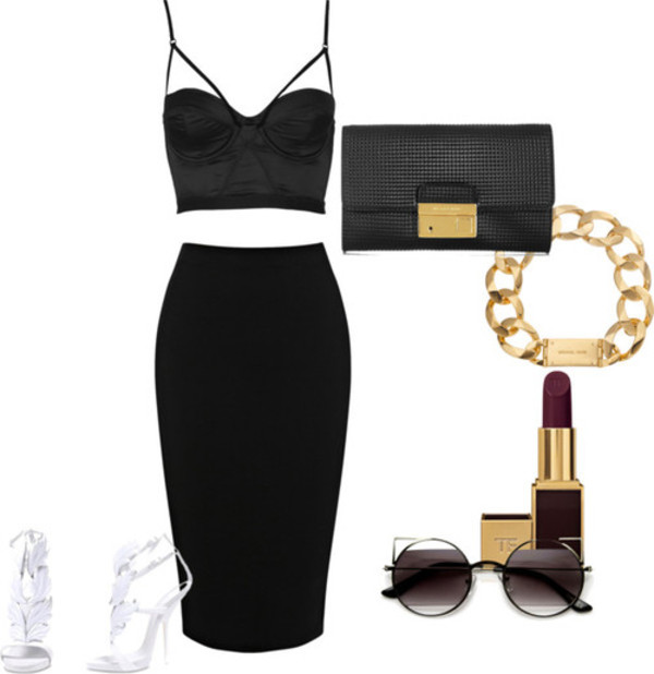skirt outfit tank top sunglasses jewels