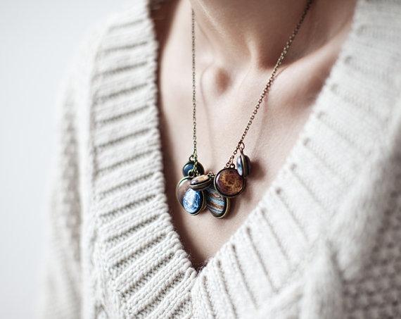 Statement necklace  Solar System necklace  Space by BeautySpot