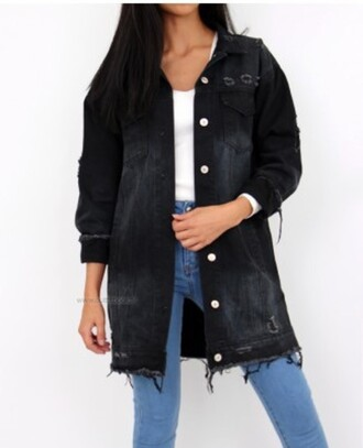jeans black jacket coat denim jacket black jeans