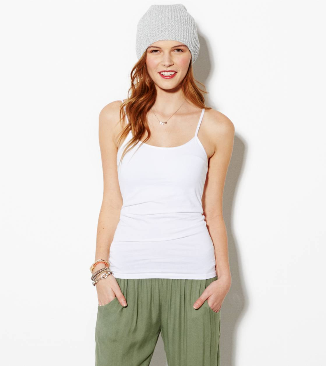 AE Shelf Cami, White  | American Eagle Outfitters